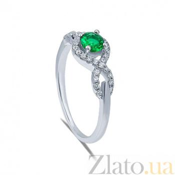 Серебряное кольцо с зеленым цирконием Герминия AQA--RJ2167-g