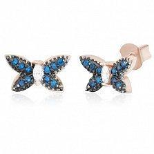 Позолоченные серебряные сережки-пуссеты с фианитами Июль
