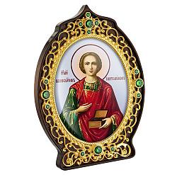 Икона Святой Пантелеймон с латунью, зелеными фианитами, цветной эмалью и позолотой 000004200