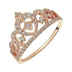 Кольцо из красного золота с цирконием 000141364
