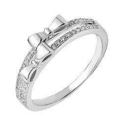 Серебряное кольцо Бантики с фианитами