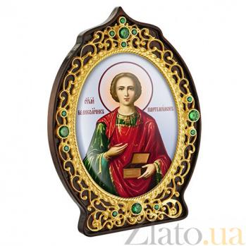 Икона латунная с позолотой с образом Святого Пантелеймона 2.78.0916лп