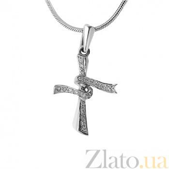 Золотой декоративный крестик с бриллиантами Милена 000021682
