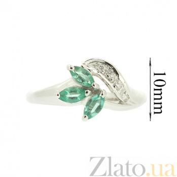 Серебряное кольцо с бриллиантами и изумрудами Валия ZMX--RDE-9002-Ag_K