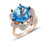 Кольцо из красного золота Делфина с бриллиантами и голубым топазом