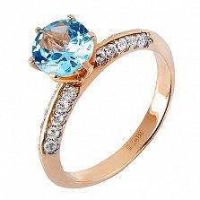 Кольцо из красного золота Мессалина с голубым топазом и цирконием