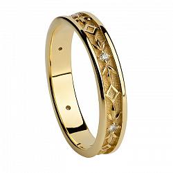 Золотое обручальное кольцо с бриллиантами Мое сердце