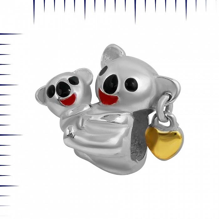 Серебряный шарм Коалы с цветной эмалью 000081739
