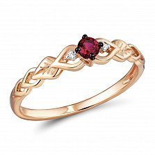 Кольцо Эльза из красного золота с бриллиантами и рубином
