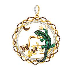 Кулон из желтого золота Лунная ящерица  с фианитами