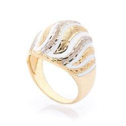 Дизайнерский перстень Ванильный иней в желтом золоте с насечками и белой эмалью