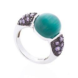 Серебряное кольцо с имитацией улексита и фианитами 000127698