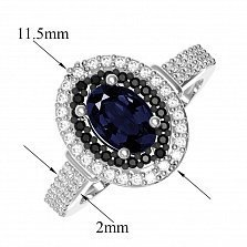 Серебряное кольцо Тея с синтезированными сапфирами, черными и белыми фианитами