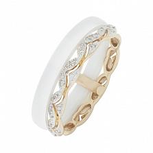 Золотое кольцо Амина с керамикой и бриллиантами