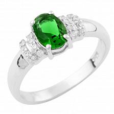 Серебряное кольцо Фелипина с синтезированным изумрудом и фианитами