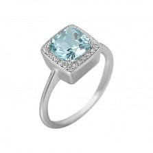 Серебряное кольцо Радмила с топазом и фианитами