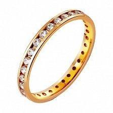 Золотое обручальное кольцо Классическая американка с фианитами