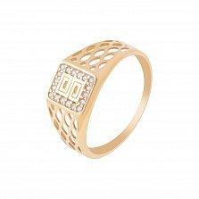 Золотой перстень-печатка Альфредо с перфорированной шинкой и белым цирконием