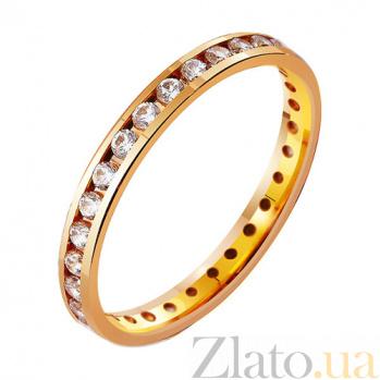 Золотое обручальное кольцо Классическая американка с фианитами TRF--412813
