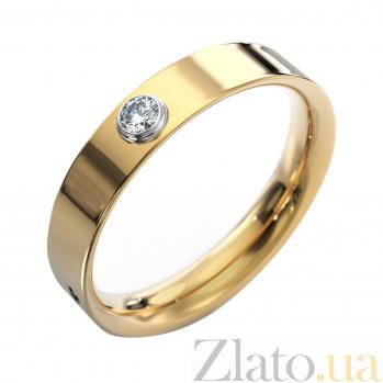Золотое обручальное кольцо Ольвия в комбинированном цвете с бриллиантом VLA--15970