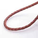 Кожаный коричневый шнурок Трайт с серебряной застежкой, 3мм