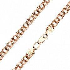 Золотой браслет Карелита в красном цвете плетения бисмарк