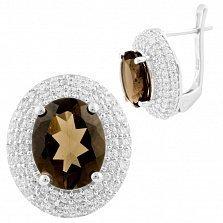 Серебряные серьги Джоконда с раухтопазом и фианитами