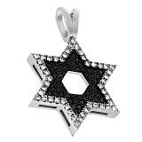 Кулон из белого золота Щит Давида с бриллиантами