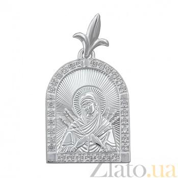 Серебряная ладанка с алмазными гранями Божья Матерь Семистрельная HUF--3405-ал