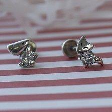 Серебряные серьги-пуссеты Кот и Пес с фианитами