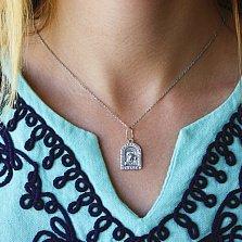 Серебряная ладанка Мария с младенцем с кристаллами циркония