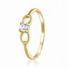 Золотое кольцо Бантик в желтом цвете со Swarovski Zirconia