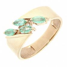 Серебряное кольцо Лилианна в позолоте с изумрудами