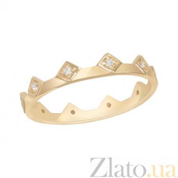 Кольцо из желтого золота с фианитами Королева 000022944