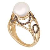 Золотое кольцо с жемчугом и фианитами Фериде