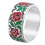 """Серебряное кольцо с эмалью Вышиванка """"Розы"""""""