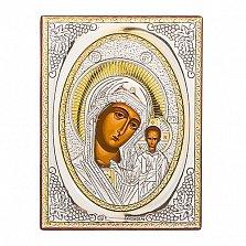 Икона с серебром Казанская Божья Матерь, 9х7см