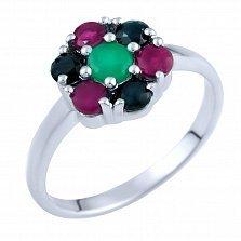 Кольцо из серебра Натали с изумрудом, рубином и сапфиром