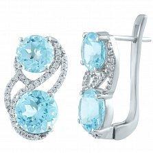 Серебряные серьги Джулия с голубым топазом и фианитами