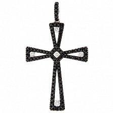 Золотой декоративный крестик Оранта с черными и белыми бриллиантами