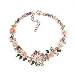 Серебряный браслет с розовым перламутром, цветными фианитами, зеленой эмалью и позолотой 000133971