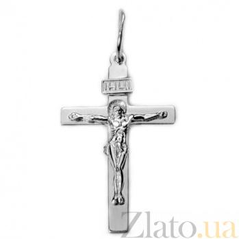 Крестик из белого золота Спаси и сохрани HUF--115-ИН бел