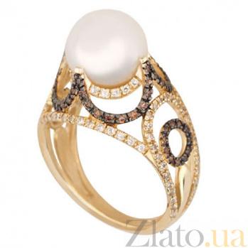 Золотое кольцо с жемчугом и фианитами Фериде VLT--ТТТ1213