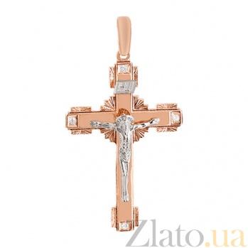 Золотой крест с фианитами Добрая душа 000024305