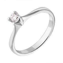 Помолвочное кольцо из белого золота с бриллиантом 0,18ct 000050445