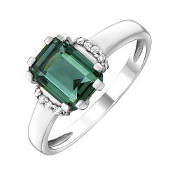 Серебряное кольцо Гринерия c зеленым кварцем и фианитами