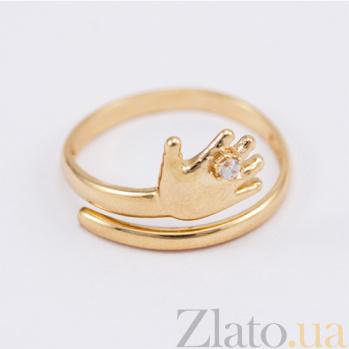 Кольцо из красного золота с фианитом Я с тобой VLN--212-1688
