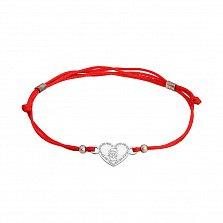 Шелковый браслет со вставкой Сердце ангел ажур