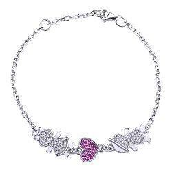 Серебряный браслет с розовыми и белыми фианитами 000043210