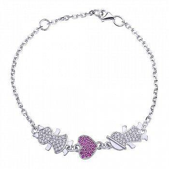 Срібний браслет з рожевими і білими фіанітами 000043210